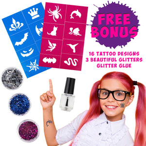 Hair Chalk for Girls Combs – And Glitter Tattoo Set, 10 Temporary Hair Color Brush for Kids, 16 Stencils, 3 Glitters & Glue, Vibrant Washable Hair Dye, Birthday Gift, Girls Hair Accessories Crayons