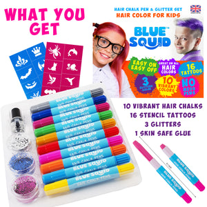 Hair Chalk for Girls Pens – & Glitter Tattoo Set, 10 Temporary Hair Color Pens for Kids, 16 Stencils, 3 Glitters & Glue, Vibrant Washable Hair Dye Pens, Birthday Gift, Girls Hair Accessories Crayons
