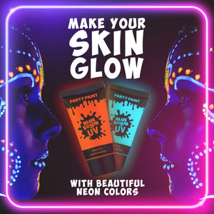 UV Glow in The Dark Face & Body Paint, 8x20ml Tubes