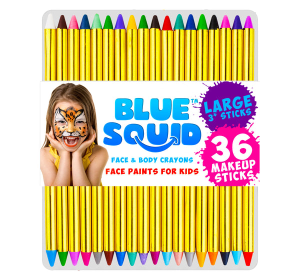 "36 Face & Body Paint Makeup Crayons, Larger 3 1/4"" (83mm) Size"