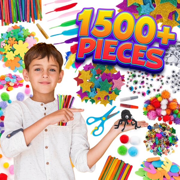 Scrapbooking Craft Supplies Kit for Kids – 1500+pcs in Easy Store Bag, Kids Craft Art Supply, Kids Crafts Set, DIY Crafting Kit, Pipe Cleaners, Pom Poms, Googly Eyes, Feathers, Beads, Ages 4 5 6 7 8 9 10 12