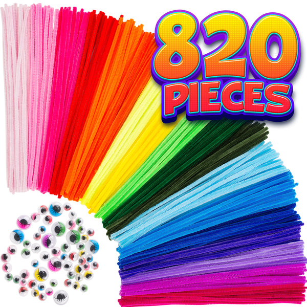 Pipe Cleaners Craft Chenille Stems - 820 Pcs, 35 Assorted Colors with Googly Eyes for DIY Art & Craft Projects, Kids Fuzzy Sticks Crafts, Extra Long Pieces, Multicolored Stems, Sparkle Crafting Colors