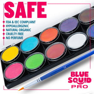 Blue Squid Pro 12 Color Palette, 12x10g Professional Face & Body Paint