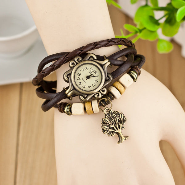 Vintage leather band Quartz Bracelet Watch