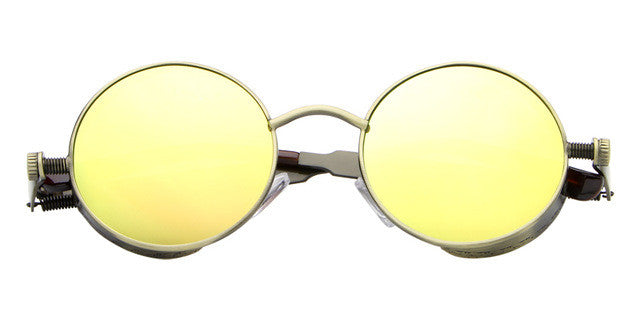 Vintage Round Metal Steampunk Sunglass For Men/Women