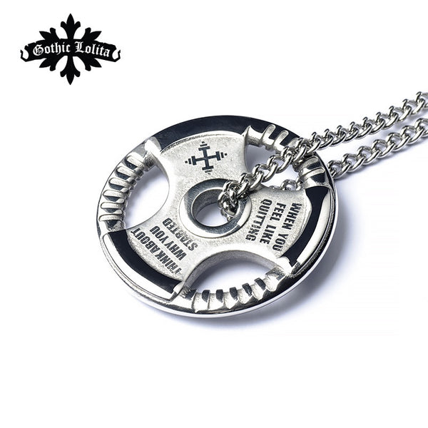 Weight Plate Barbell  Necklace Titanium Steel
