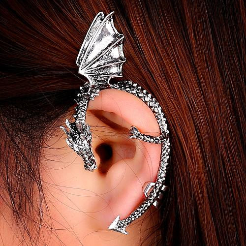Metal Dragon Bite Ear Cuff Clip Wrap Earring Gifts