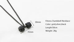 Stainless Steel Dumbbell Necklace