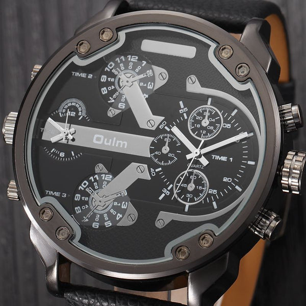 Military Quartz-Watch with Leather Strap