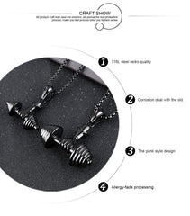 Stainless Steel DieHard Dumbbell  Necklace