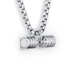 * Personalized Engrave Stainless Steel  Dumbbell Necklace