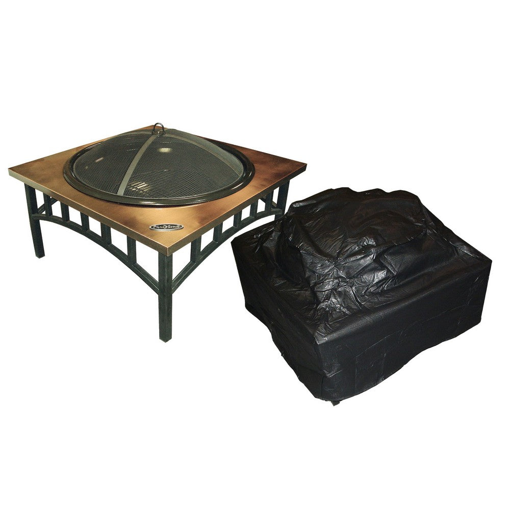 FIRE SENSE Outdoor Square Fire Pit Vinyl Cover - Fireplace Features