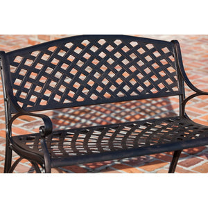 PATIO SENSE Antique Bronze Cast Aluminum Patio Bench - Fireplace Features