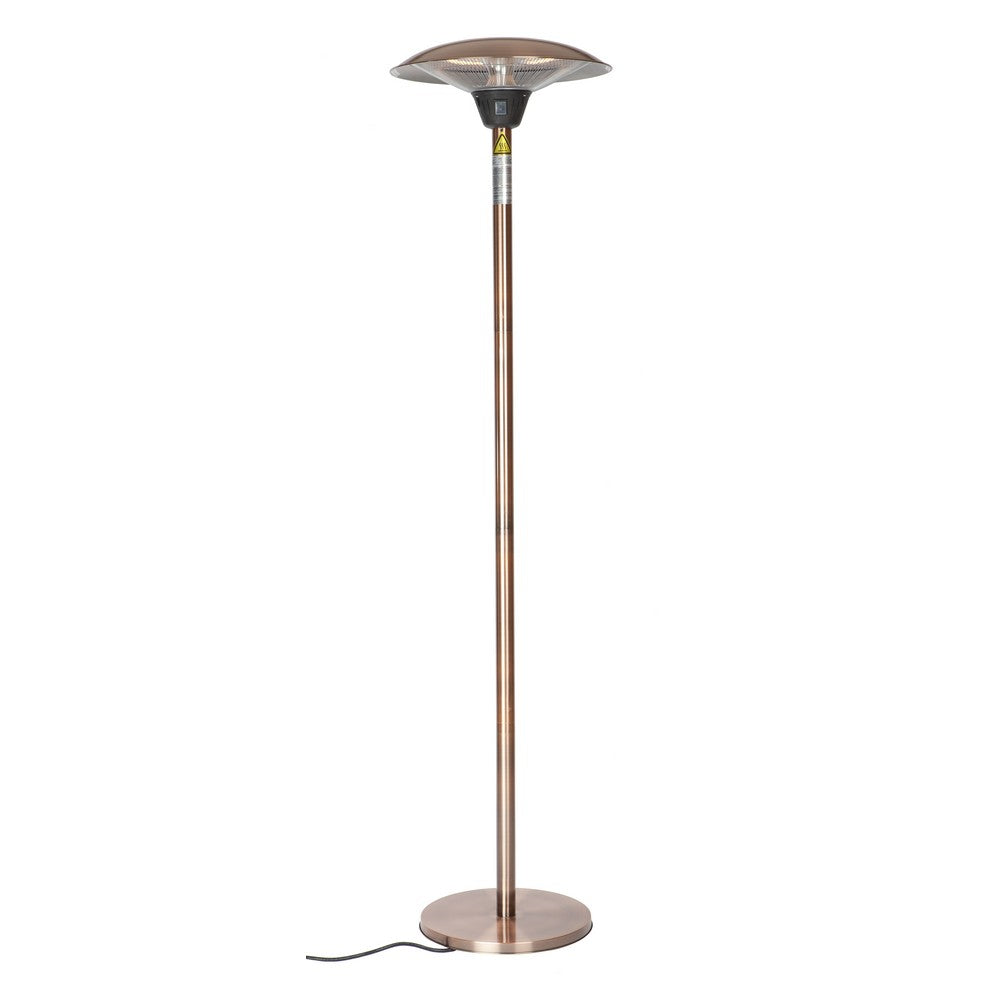 FIRE SENSE Frisco Brushed Copper Colored Halogen Patio Heater - Fireplace Features