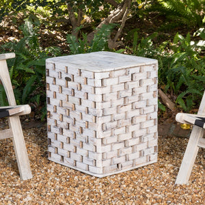 PATIO SENSE Maya Square Garden Stool - Fireplace Features