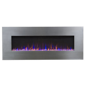 "TOUCHSTONE AUDIOFLARE Stainless 50"" Stainless Wallmount Fireplace"