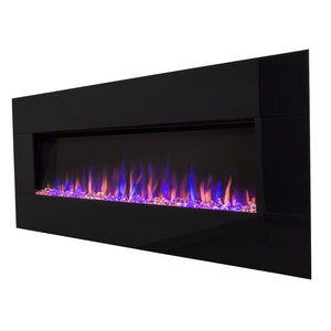 "TOUCHSTONE AUDIOFLARE Black Glass 50"" Black Wallmount Fireplace"