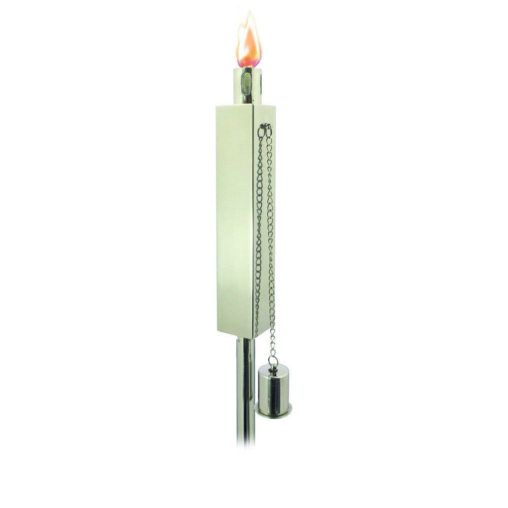ANYWHERE FIREPLACE POLISHED STEEL  RECTANGULAR GARDEN TORCH  65 inchs tall