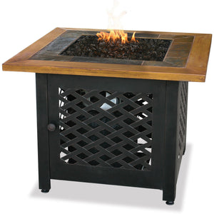 Lp Gas Outdoor Firebowl With Slate And Faux Wood Mantel GAD1391SP Mr BBQ - Fireplace Features