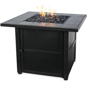 Lp Gas Outdoor Firebowl With Slate Tile Mantel GAD1399SP Mr BBQ - Fireplace Features