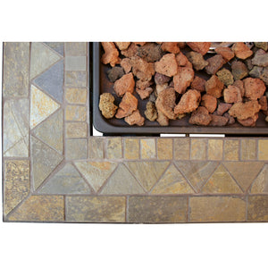 Lp Gas Outdoor Firebowl With Slate Tile Mantel GAD1429SP Mr BBQ - Fireplace Features