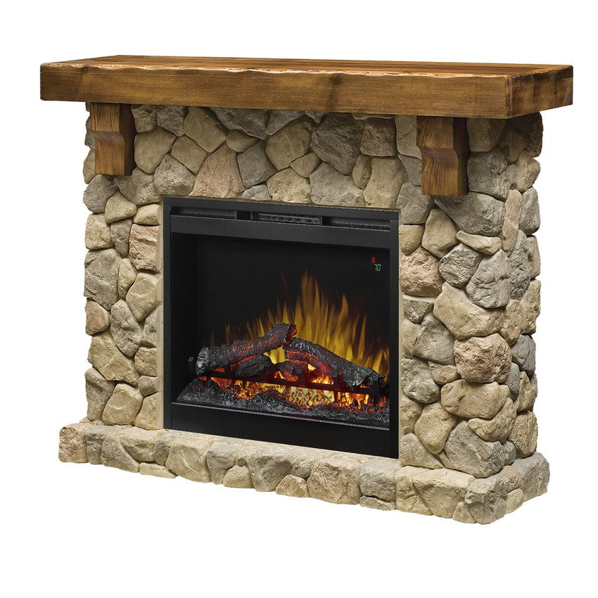 Dimplex Fieldstone Mantel Electric Fireplace - Fireplace Features