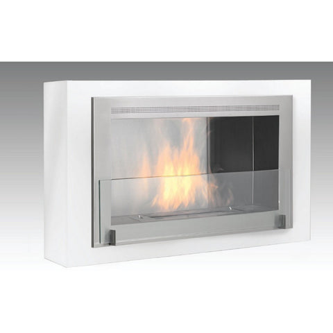 Montreal Wallmount Bio-Ethanol Fireplace - Gloss White / Stainless ECO-FEU WU-00127-SW - Fireplace Features