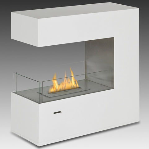 Paramount Freestanding Bio-Ethanol Fireplace - Gloss White ECO-FEU FS-00082-SW - Fireplace Features