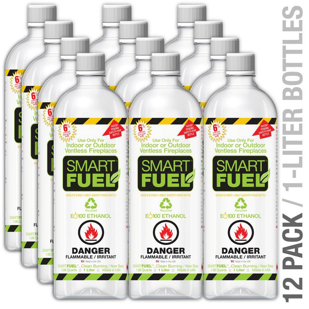 ANYWHERE FIREPLACE SMARTFUEL™ LIQUID BIO-ETHANOL FUEL FOR FIREPLACES 12 PK 1 Quart Bottles x12 per carton