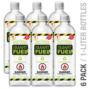 "ANYWHERE FIREPLACE SMARTFUEL™ LIQUID BIO-ETHANOL FUEL FOR FIREPLACES 6 PACK 1 Quart Bottles x6 per carton"" Bio-Ethanol Fuel - Fireplace Features"