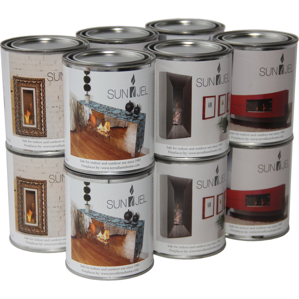 ANYWHERE FIREPLACE SUNJEL GEL FUEL CANS 12 PACK 13 Oz Gel Cans x12 per carton