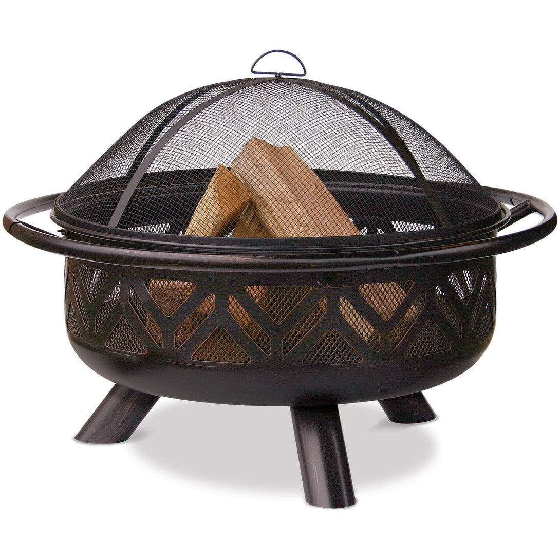 36 In Oil Rubbed Bronze Outdoor Firebowl With Geometric Design WAD1009SP Mr BBQ - Fireplace Features
