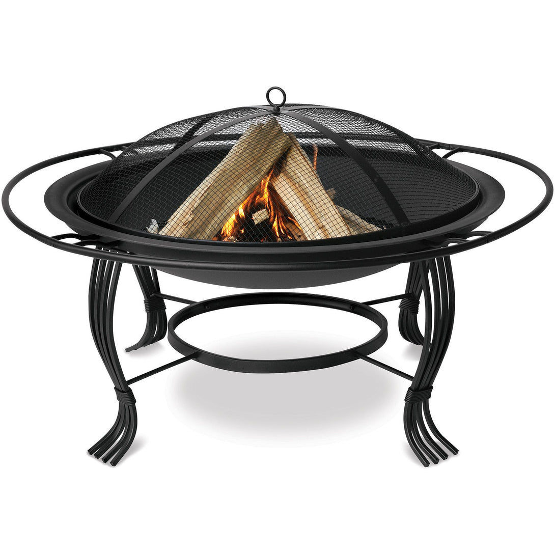 Black Outdoor Firebowl With Outer Ring WAD1050SP Mr BBQ - Fireplace Features