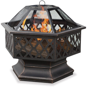 Oil Rubbed Bronze Hex Shaped Outdoor Firebowl With Lattice Design WAD1377SP Mr BBQ - Fireplace Features