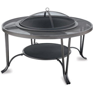 Black Wood Outdoor Firebowl With Mesh Hearth WAD1411SP Mr BBQ - Fireplace Features