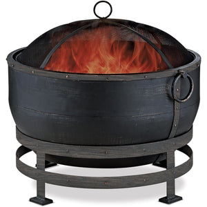 Oil Rubbed Bronze Wood Burning Outdoor Firebowl With Kettle Design WAD1579SP Mr BBQ - Fireplace Features