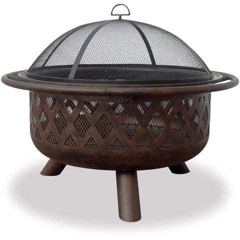 36 In Wide Oil Rubbed Bronze Firebowl With Lattice Design WAD792SP Blue Rhino - Fireplace Features