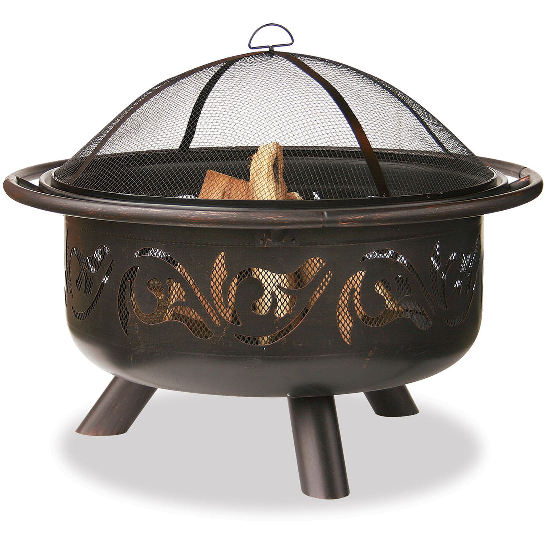 36 In Wide Oil Rubbed Bronze Firebowl With Swirls WAD900SP Mr BBQ - Fireplace Features