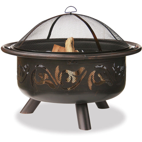 36 In Wide Oil Rubbed Bronze Firebowl With Swirls WAD900SP Blue Rhino - Fireplace Features