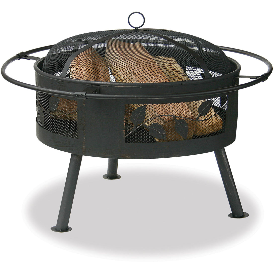 30 In Wide Aged Bronze Firebowl With Leaf Design WAD992SP Mr BBQ - Fireplace Features