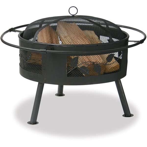 30 In Wide Aged Bronze Firebowl With Leaf Design WAD992SP Blue Rhino - Fireplace Features