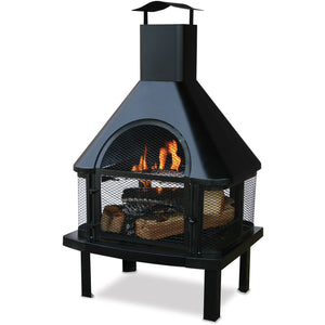 Black Wood Burning Outdoor Firehouse With Chimney WAF1013C Blue Rhino - Fireplace Features