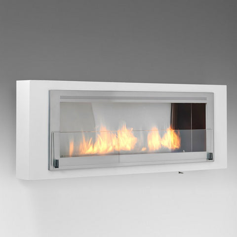 Santa Cruz Wallmount Bio-Ethanol Fireplace - Gloss White / Stainless ECO-FEU WU-00088-SW - Fireplace Features