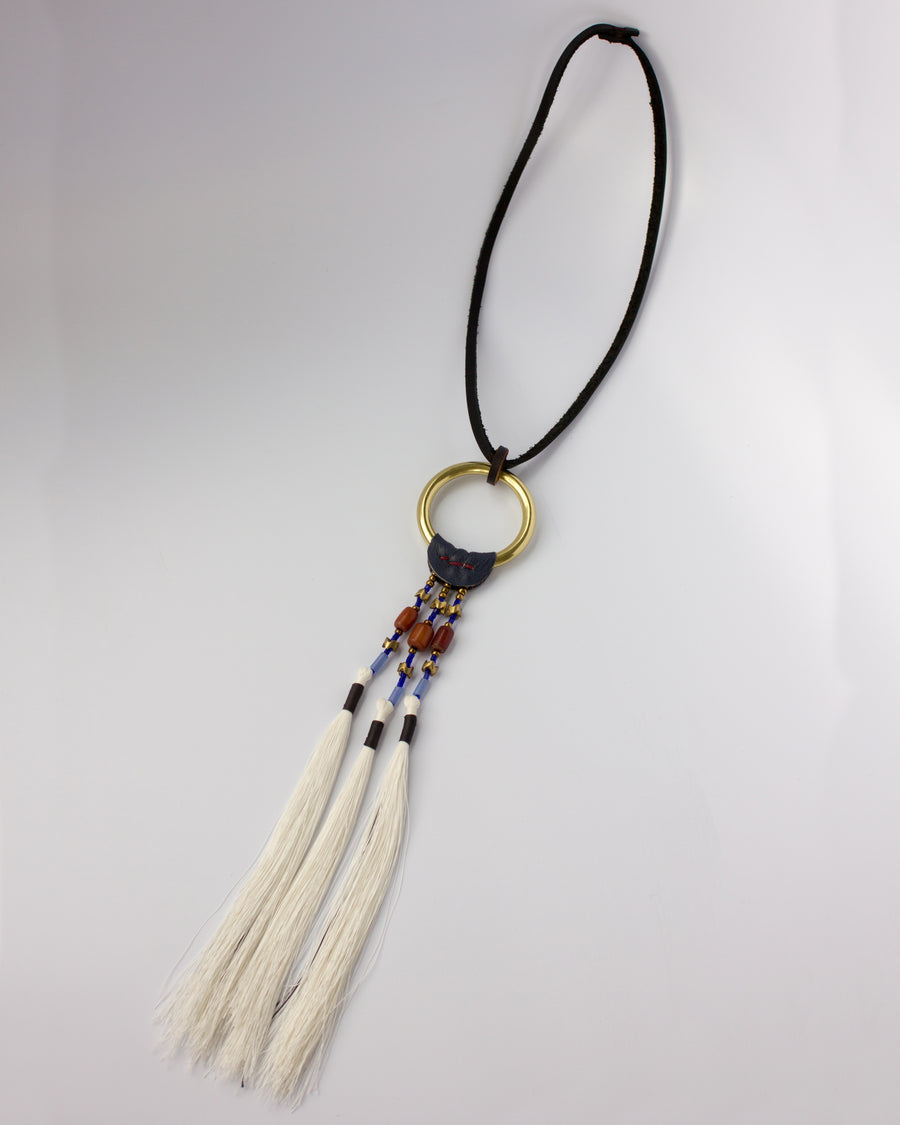 OOAK Brass Ring Necklace - Beads & Thread & Leather