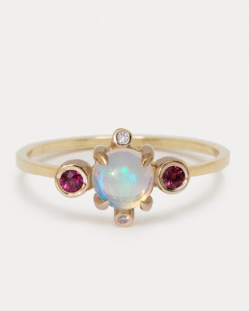 <b>Astral Ring</b><br> Opal & Garnets <br> Gold