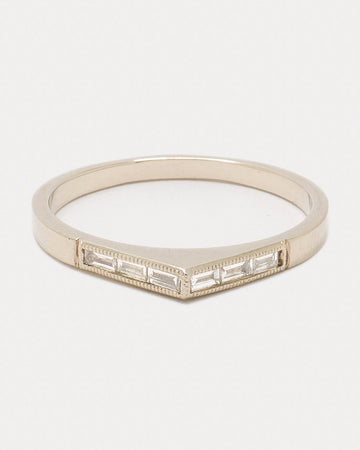 Wide Baguette Bateau Ring <br> Gold