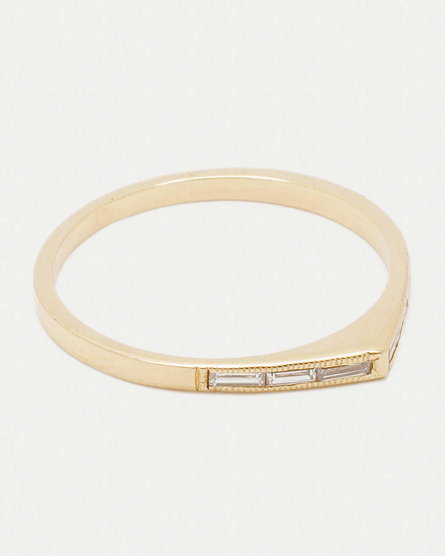 Thin Baguette Bateau Ring <br> Diamonds & Gold
