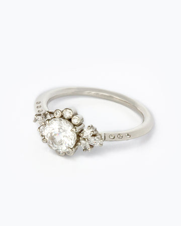 Blanca Briar Rose with White Zircon in White Gold