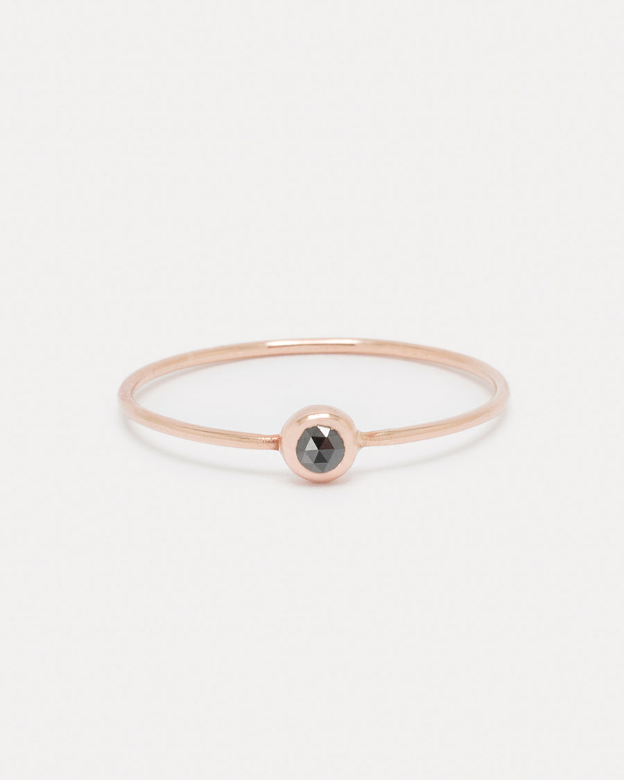 Black Diamond Pip Ring in Rose Gold - Size 5.5