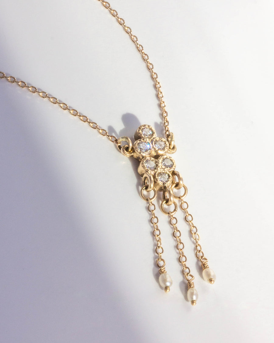 Diamond Pluvia Necklace with White Diamonds in Yellow Gold • LIMITED EDITION • LAST ONE •